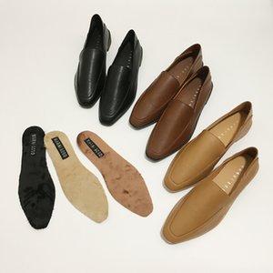 Marque chaussures Espadrilles femme oxfords robe en cuir souple talons bas dames appartements paresseux bout carré sapatos female2020 peau de porc mules