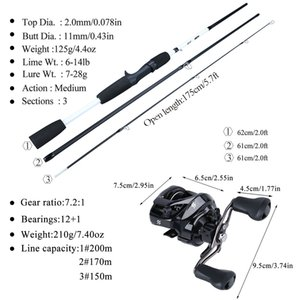 Sougayilang New Fishing Rod Reel Combo Portable 3 Sections 175CM Lure Fishing Rod and 9+1BB Baitcasting Reel Set