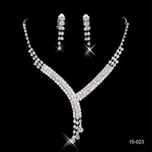 Lujo y cristalino barato pendiente del collar redondo novia de la boda Novia de la manera Jewel sistemas de la joyería del partido de tarde
