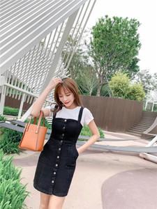 Denim Dress 2020 Summer Slim Sweet Style Strap Jeans Dress Women Preppy Suspender Sundress Overall Mini Dress