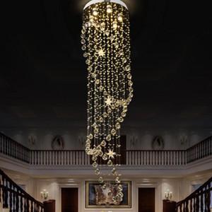 2019 LED Cystal lungo Staircase lampadario scala moderna lampadari di cristallo raindrop lampade a luce Programma lampada a sospensione lusso