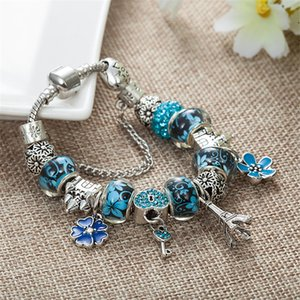 Gros-New Charm Bracelet Argent 925 Pandor Bracelets Château Perles Tour Eiffel Pendentif Bracelet pour cadeau Accessoires Bijoux Diy