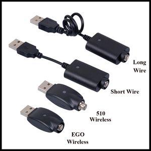 E Сигарета USB-кабель для зарядки Длинный короткий провод Провод зарядки аккумулятора 510 EGO EVOD Беспроводной USB-кабель для зарядки