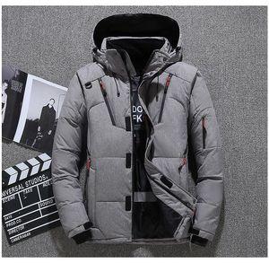 Herren-Winter-Daunenjacken Designer Herren Solid Color Langarm-Außenmantel LuxuxMens Oberbekleidung mit Reißverschlusstaschen