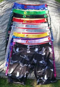 Nueva Ethika los hombres del diseñador de la ropa interior de los boxeadores de algodón color mixto, transpirable Carta cortocircuitos de los calzoncillos Diseño cuecas apretado pretina