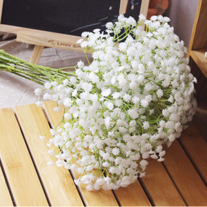 Eco-Friendly 60 centímetros Gypsophila Babys Falso Respiração Artificial Silk Decoração flores da planta inicial casamento 3color Branco Bege roxo