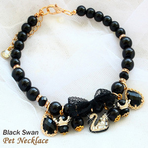 Free shipping Exclusive design Mysterious black swan black pearl dog necklace cat pet accessories poodle chihuahua yorkshire