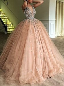 Luxury Beads Tops Tulle Ball Gown Deep V Neck Long Evening Dress robe de soiree for Special Occations Custom Made