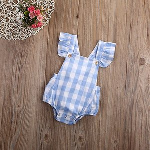 Cute Toddler Blue Plaid Jumpsuit Hot Baby Girl Summer Backless Bodysuit kids Sleeveless Outfits