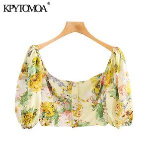 KPYTOMOA donne 2020 di moda stampa floreale ritagliata camicette Piazza Vintage collare Puff Sleeve femminili Camicie Blusas Chic Top