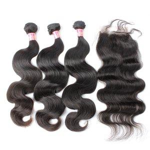Malesi del Virgin Capelli 3 fasci di capelli con 1 chiusura di colore dell'onda naturale del corpo umano Capelli Tessiture di trasporto Bella