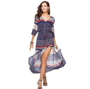 nova moda Mulher Originalidade desgaste das Mulheres Vestido Hot dinheiro E tornozelo Longuette Primavera e verão cintura Roupas Femininas Casual Vestidos