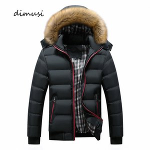 DIMUSI Homens Winter Jacket Casual Mens Faux Fur Collar de algodão grosso quente Hoodies Parkas Masculino térmica Blusão Casacos Vestuário