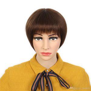 Barato 9a recta corta corta brasileña Remy Pelucas de pelo humano Pixie Corte el pelo brasileño Sin encaje Pelucas de pelo humano para mujeres negras