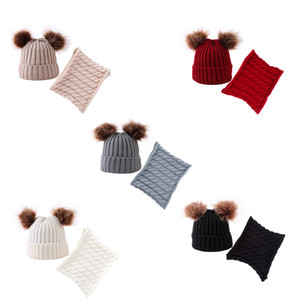 Chapéu do inverno do lenço Rapazes Meninas Pom Pom limite estabelecido Crianças de Inverno de malha de algodão Gorros bonito Caps quentes Balls peludos do bebê Lenços Set LJJA3084