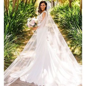 New Designer Delicate Best Selling Real picture One Layer Cut Edge Cathedral Length Alloy Comb White Ivory Wedding Veil Meidingqianna Brand