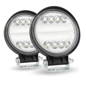 Adeeing 1pcs / 2pcs 4 pouces LED ronde Lampe de travail 4 roues motrices SUV LED 200W 6000K Flood faisceaux ponctuels Offroad Bar phares antibrouillard voiture légers pour voiture