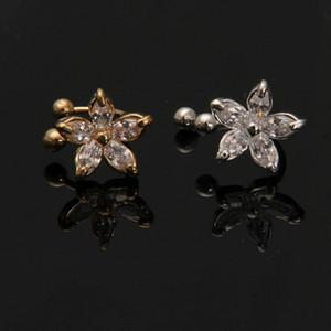 1PC Fashion Women Clip Ear Cuff Fake Flower Daisy Earring Wrap Crystal Cartilagine Ear Stud Lady U-type