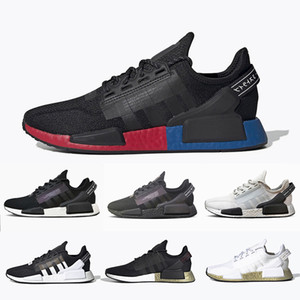 Adidas Cheap NMD V2 Core Black White womens Mens running shoes OG Bred Metallic Gold Triple Black White women men sports sneakers 36-45v