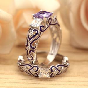 Schmuck Quadrat Drill Amethyst Verlobungsring Violet Kleber Set Ring