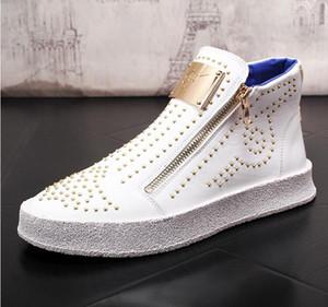 zapatos del remache tendencia de la moda para los hombres zip mocasines altas cimas de los hombres remaches brillantes zapatos casuales Botines Plataforma otoño de punk zip