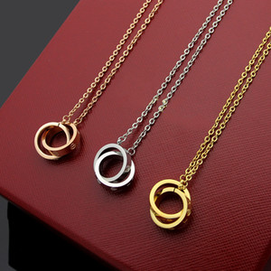 2019 Мода новый бренд класса люкс дизайнер для женщин ожерелье большое двойное кольцо 18K золото титана стали ожерелье шарма оптом