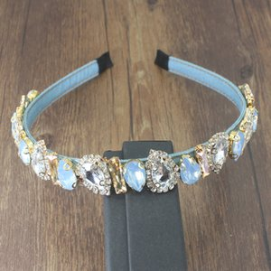 Корейская Мода Jeweled Hair Band Аксессуары Блестящий Прозрачный Полный Кристалл Цветок Синий Hairband Горный Хрусталь Повязки Для Женщин Партии