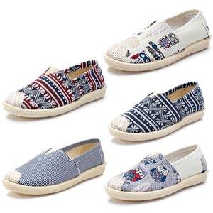 Caliente para no marca Alpargatas Zapatos para las mujeres zapatos de los planos de lona casuales resbalón de los holgazanes de las zapatillas de deporte 35-40 Multiclticolors estilo 3