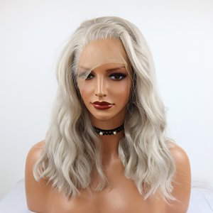 Fashion Sliver Gray Wig Short Bob Curly Wavy Lace Front Wig Heat Resistant Synthetic Lace Front Wig for Women Shoulder Length