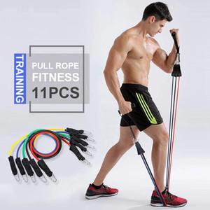Resistance Band 11Pcs Fitness Exercise Tubes Gym Training Rope Sports Yoga Pull Rope Pilates Rubber Expander Elastic Bands YFA2040-1
