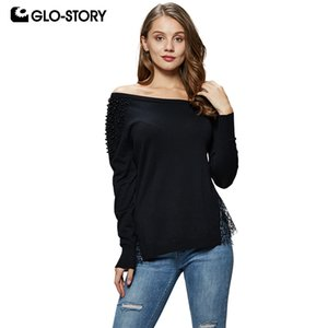 GLO-STORY 2018 Mode Femmes Off-Shoulder Solide Pull Pull Perler Dentelle Ouvert Ourlet Sexy Femme Hauts Tricotés WMY-4972