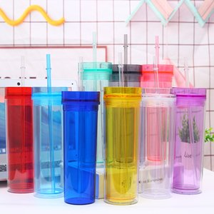 16OZ acrílico flacos del vaso Multi color Borrar vasos plásticos con tapas y pajas pared doble recta botella de agua 08