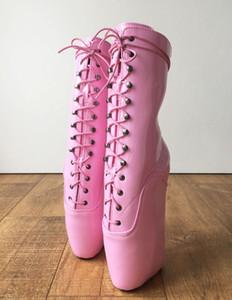 Nuovo arriva il colore rosa 18CM estremo tacco alto Hoof Sole Heelless Wedge Ballet Boots Scarpe a punta Lace-up Stivaletti donna