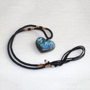 cuarzo cristal de piedra natural alargada feldespato colgante de piedra lunar en forma de corazón collar de la joyería Amor gris claro de luna alargada
