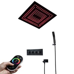 Termostatico doccia a pioggia Set Black Head d'ottone Rubinetti Valve Bagno spedizione spruzzatore LED docce gratuite