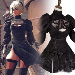 Nier: Autómatas 2B YoRHa NO.2 tipo B Negro Falda YoRHa del traje de Cosplay Guante Calcetines