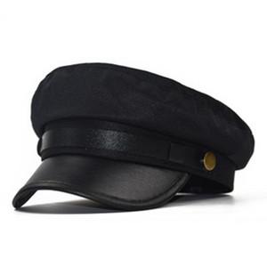 Moda boina femenina versátil lino del sombrero de otoño de arrugas femenina y sombrero militar de invierno versión coreana de la celosía sencilla octogonal sombrero
