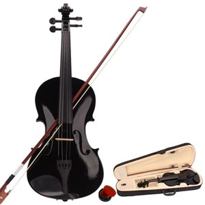 Acoustic Violin 4 4 Full Size with Case and Bow Rosin Set 4 Strings Black for Students Musical Instruments Ship from USA