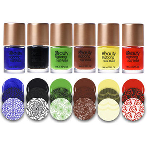 Cheap Polish BEAUTYBIGBANG 12 9ml Colors Gel Nail Stamping Polish Colorful Printing Varnish Lacquer for Nail Art Stamping Plate Dry Fast
