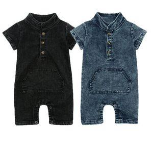 Bebê verão Meninas Criança Menino Infantil Denim Romper Bodysuit Macacão Roupas Playsuit
