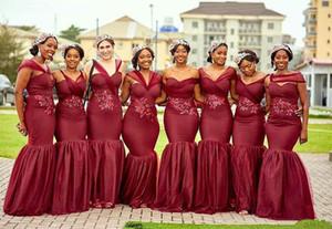 Черные девочки африканские русалки конвертируемые платья невесты, темно-красный плюс размер кружевной аппликации бусины свадебные горничные честь платье Q75