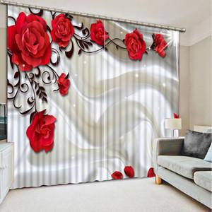 Decoração de casa cortinas para sala de estar quarto cortina 3D personalizado rosa cortinas 3d cortinas de fotos