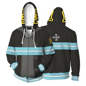 Cartoon Enn Enn No Shouboutai Fire Force Hoodie 3D Print Jacket Burns Cosplay Costume Hooded Sweatshirt