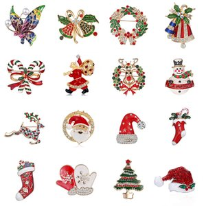 Cute 18k Gold Plated Christmas Series Santas Snowman Candy Cane Snowflake Brooches Men Womens Brooch Jewelry Gifts