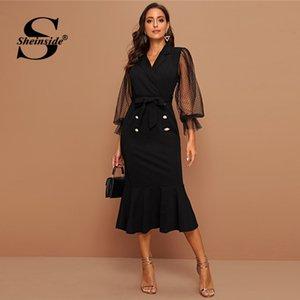 Sheinside Şık Kontrast Dot Mesh Midi Elbise Kadınlar 2020 İlkbahar Kuşaklı Denizkızı Elbiseler Bayanlar Siyah Çift Düğme Elbise