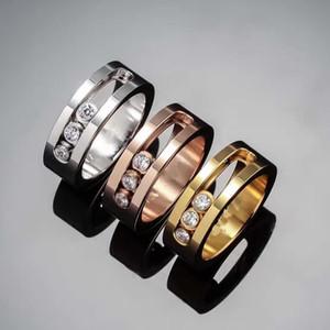 Мода шаг CZ алмазы три камня кольца из нержавеющей стали кристалла циркона перемещение палец кольца для женщин женских пар Известных ювелирных изделий бренда