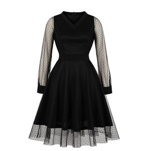 Dress Chemical Fiber Blend Women's Mid Calf Dresses Temperament Commute V Neck Long Sleeves Solid Blend Summer