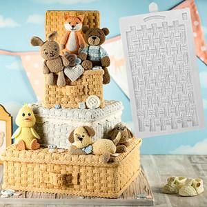 Rustic Basket Weave Silikon Formen Fondant-Kuchen-Dekor-Werkzeuge Silikon Formen Sugarcrafts Schokolade Backen-Werkzeuge für Kuchen Gumpast T200523