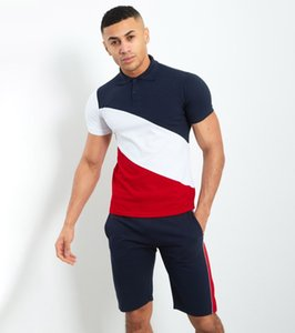 Men's Striped Stitching Tracksuit Hip-hop Mens Muscle Workout Clothes European and American Style Men Polo Shirt Suit 3 Styles Size M-3XL