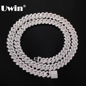 UWIN 13mm Cadena Micro Pave diente cubana manera de los collares de Hiphop heló hacia fuera completa Cubic Zirconia joyería para los hombres de las mujeres